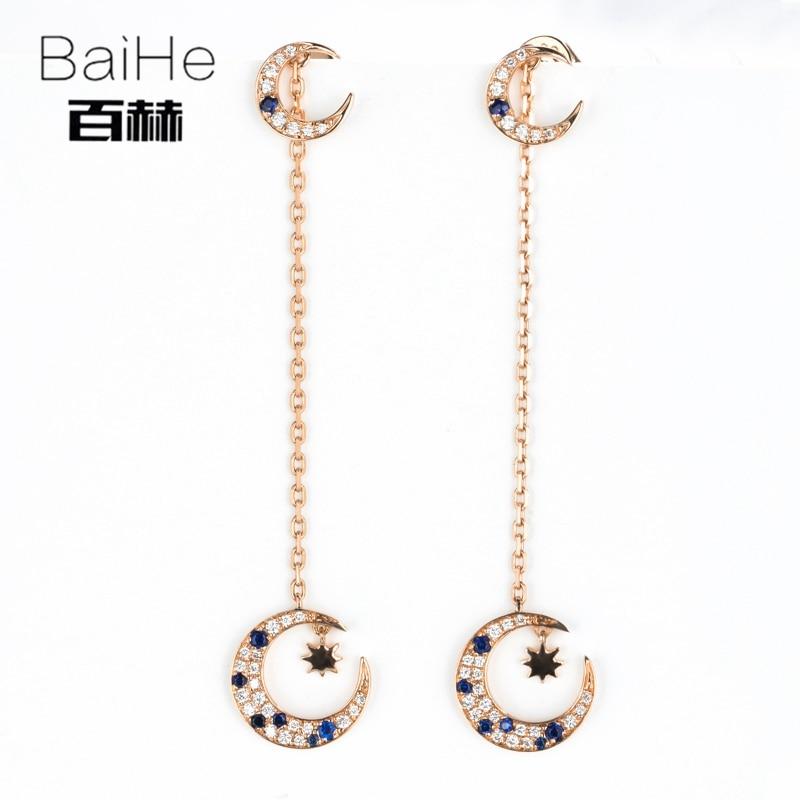 все цены на BAIHE Solid 14K Rose Gold 0.20CT H/SI 100% Genuine Natural Diamonds Engagement Trendy Fine Jewelry Elegant Unique Stud Earrings онлайн