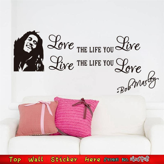 Famous Music Bob Marley Wall Stickers Love Life Quotes Pvc Vinyl ...