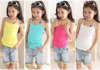 4 5 6 7 10Y New Sale 2014 Girls Cotton Clothing Summer Child Flower Princess Spaghetti