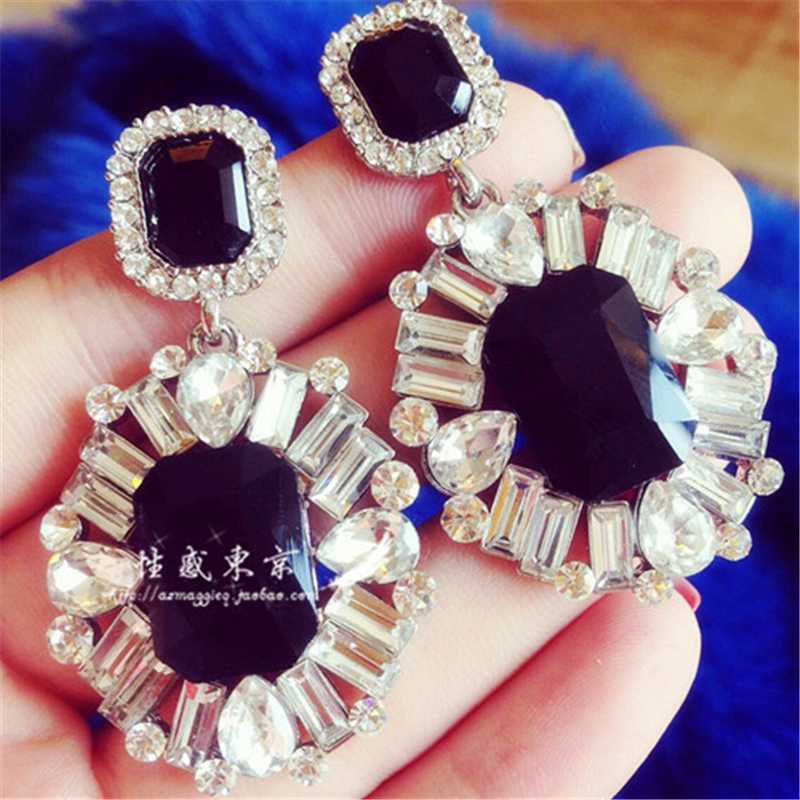 US $1 77 31% OFF|Retro red, black, green, blue super flash gem nightclub  king of upscale luxury exaggerated big earrings free shipping-in Stud