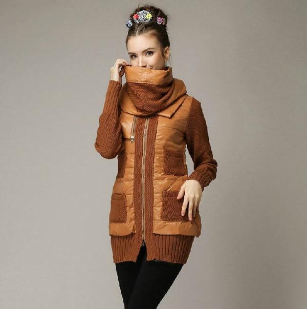 2014 New Autumn Winter Zipper Long Slim White Duck Down Parkas Woolen Yarn Patchwork O-Neck Scarf Knitted Sleeve Women Coat E817 туфли px1507 2014 tarokko zipper ayumi