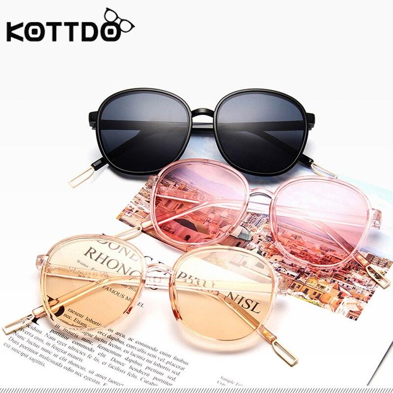 KOTTDO 2019 Fashion Retro Round Oversized Sunglasses Women Vintage Goggle UV 400 Protection Ladies Outdoor Eyewear Sun Glasses