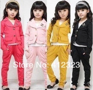 2015 new Kids' Girls Clothing Set suits top coat+pants children clothes cheap junior clothing S160