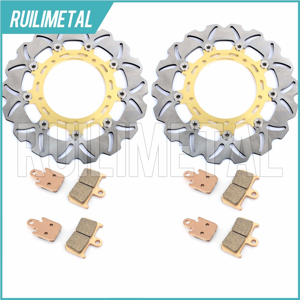 New Front Brake Discs Rotors + Pads Set for YAMAHA YZF R1 1000 2007 2008 2009 2010 2011 2012 2013 2014 07 08 09 10 11 12 13 14 brand front brake disc rotors for yamaha 2007 2011 yzf r1
