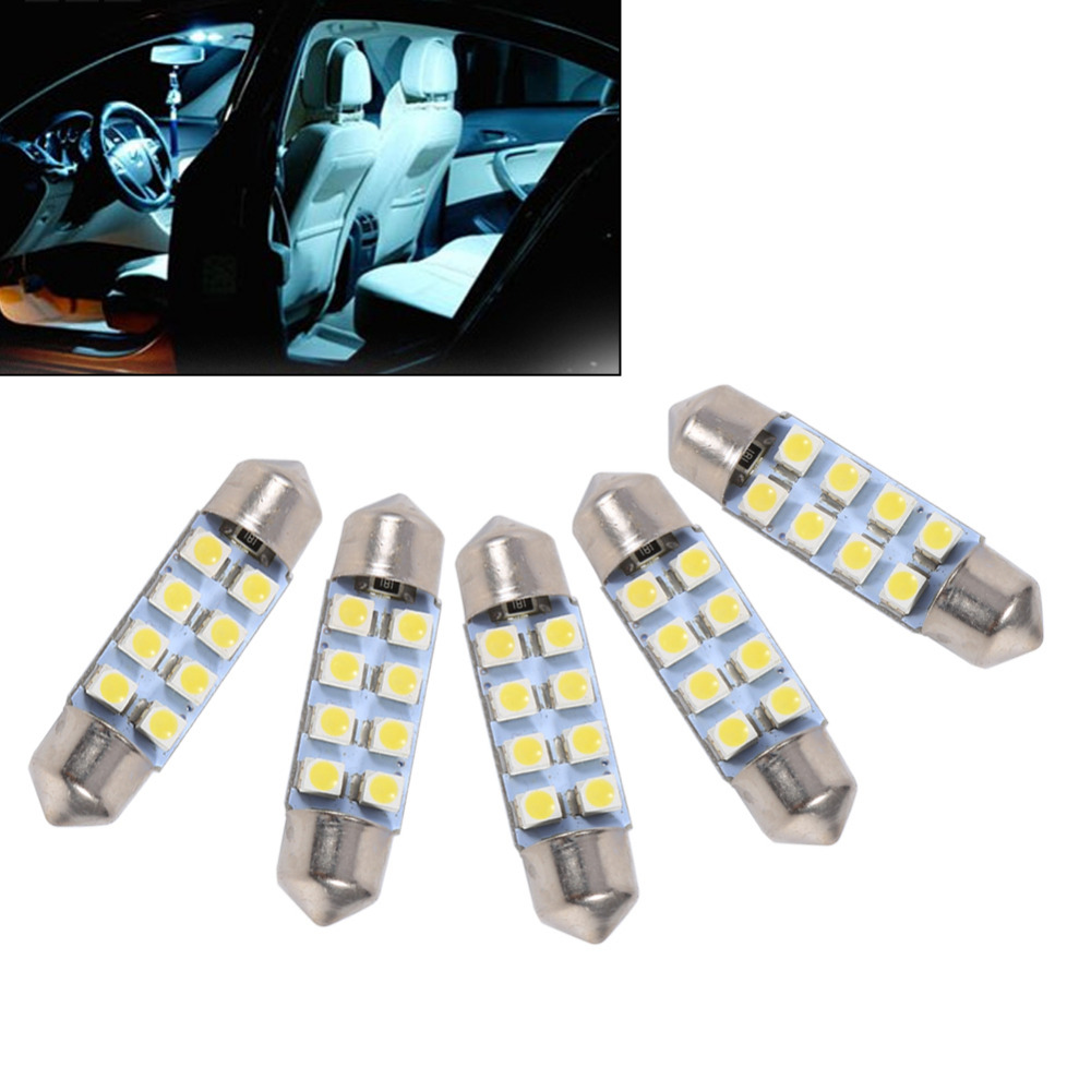 10PCS/Set 36MM 8LED 1210/3528 SMD Festoon Bulb Light Lamp White Auto Car Styling