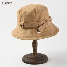 USPOP 2019 New autumn hats metal buckle bucket for women casual solid color men cotton