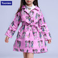 New Single-breasted Windbreaker European American Girls Printed Cotton Jacket 2017 Spring And Autumn Clothes Soft Children Wear