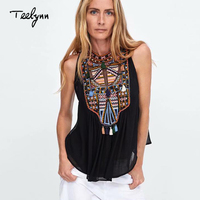 TEELYNN black Boho blouse 2018 floral embroidery sleeveless summer Blouses Shirt Casual Bohemia blouse Hippie Women top blusas