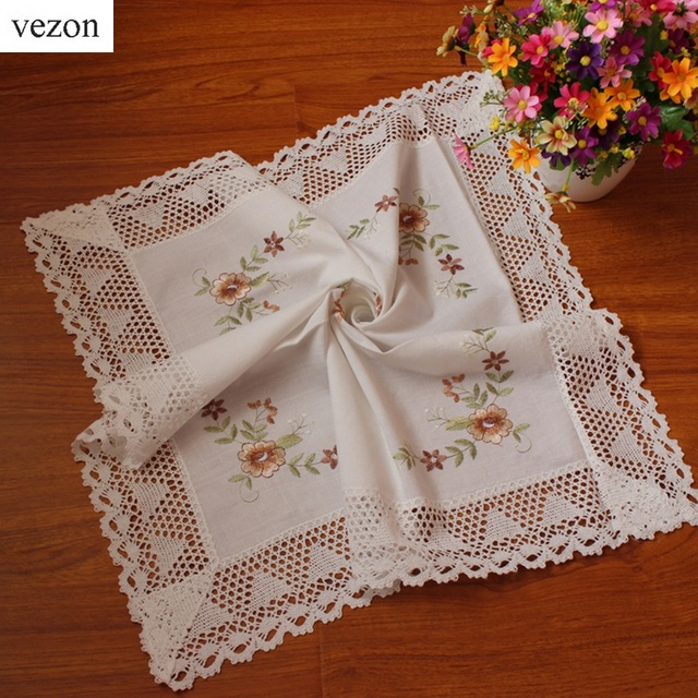 Vezon Hot Sale Elegant White Cotton Embroidery Lace Tablecloth Embroidered Table  Cloth Linen Cover Home Decoration