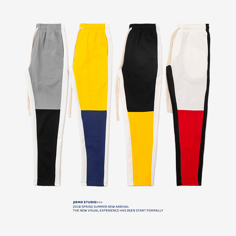 SODA WATER 2019 Mens Motocross Trackpants Slim Fit Fashion Men Joggers Trousers Yellow/blue 8404S