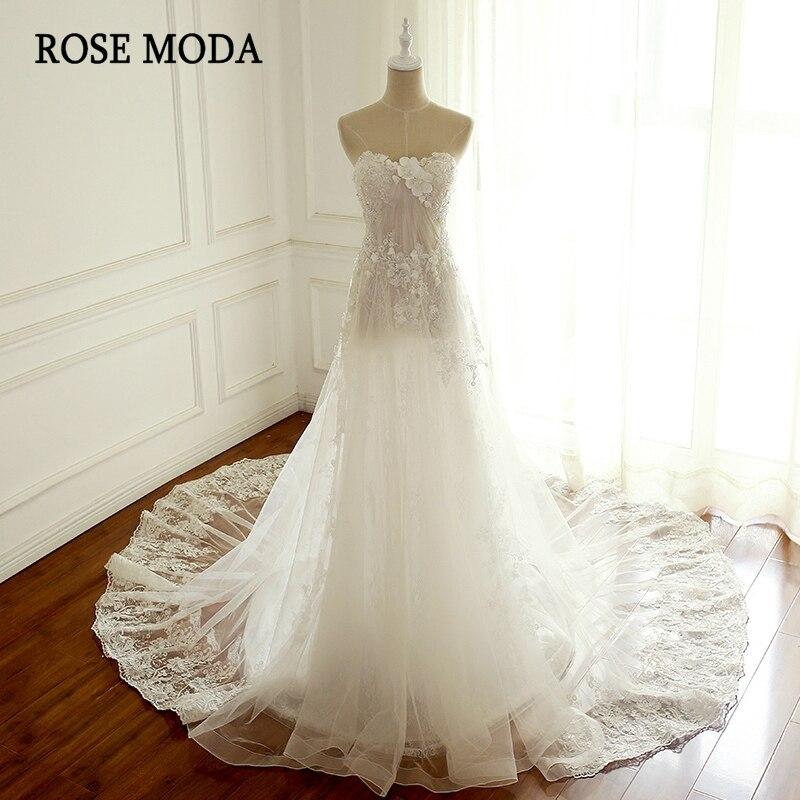 Роза Moda кружева свадебное платье Boho 2018 Кристалл бисера Пляжные Свадебные платья See Through юбка реальные фотографии