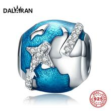 DALARAN 100% 925 Sterling Silver Beads Travel Around The World Charms For Women Jewelry Making Fit DIY Bracelet Necklace Gift