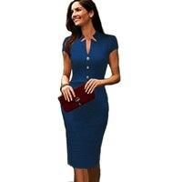 Aamikast 여성 드레스 뜨거운 판매 새로운 패션 v 넥 여름 튜닉 Bodycon 연예인 연필 파티 드레스 사이즈 Sml XL XXL