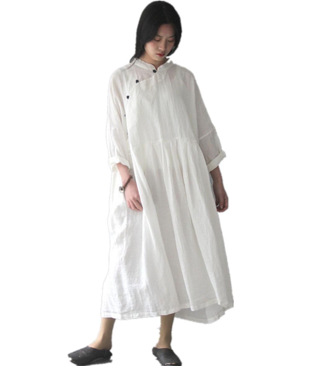 Yesno TG6 Women Long Maxi Chi Pao Dress 100% Linen Chinese ...