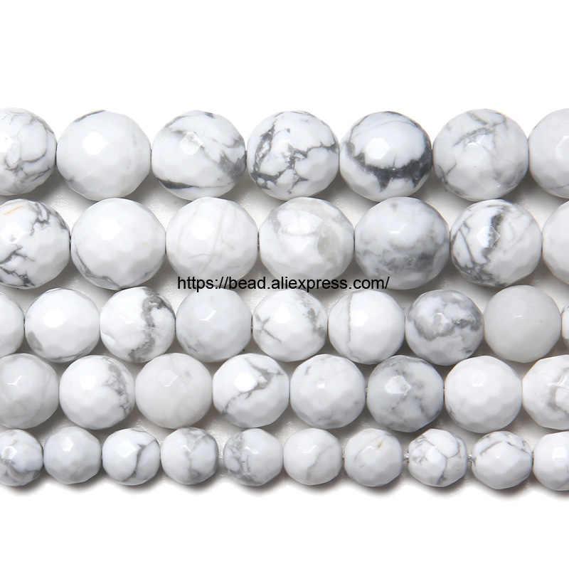 Miễn phí Vận Chuyển Đá Tự Nhiên Trắng Howlite Datolite Turquoises Vòng Loose Hạt Chọn Kích Thước đối với làm Đồ Trang Sức Làm