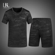 Duas Peças Conjunto Camuflagem Dos Homens Camiseta Manga Curta Cropped Top  + Shorts Treino dos homens cc23df532bb4c