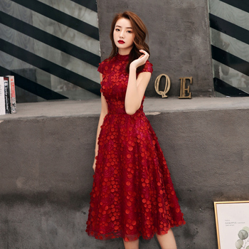 New Arrival Wine Red Lace Short Evening Dress 2020 Short Sleeve Evening Party Dresses Robe de Soiree Courte LF431