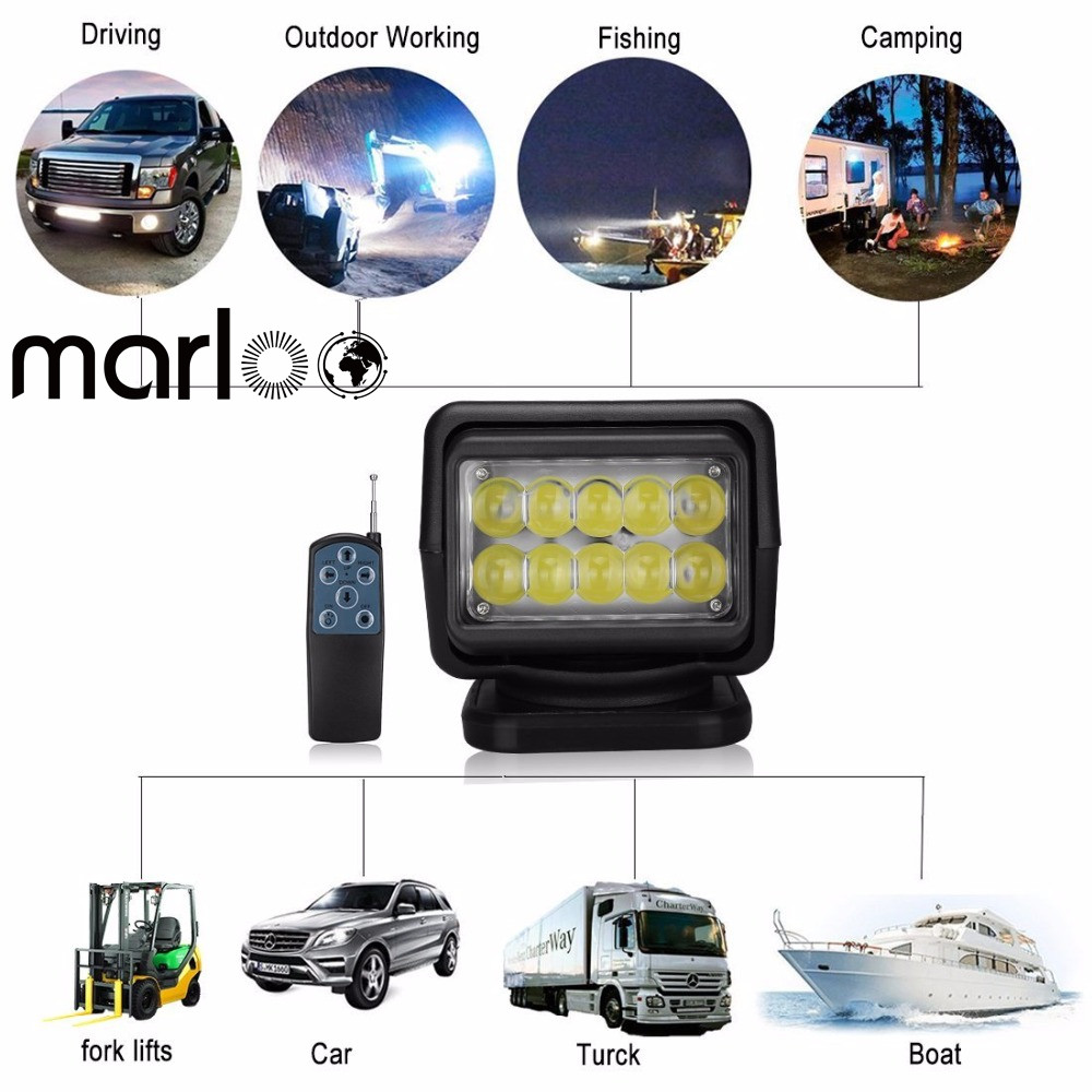 Marloo IP67 10-30V Remote control LED Search light 7inch 50W Spotlight LED Work Light TRUCK SUV BOAT MARINE driving light