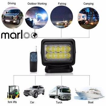Marloo IP67 10-30V Remote control LED Search light 7inch 50W Spotlight LED Work Light TRUCK SUV BOAT MARINE driving light