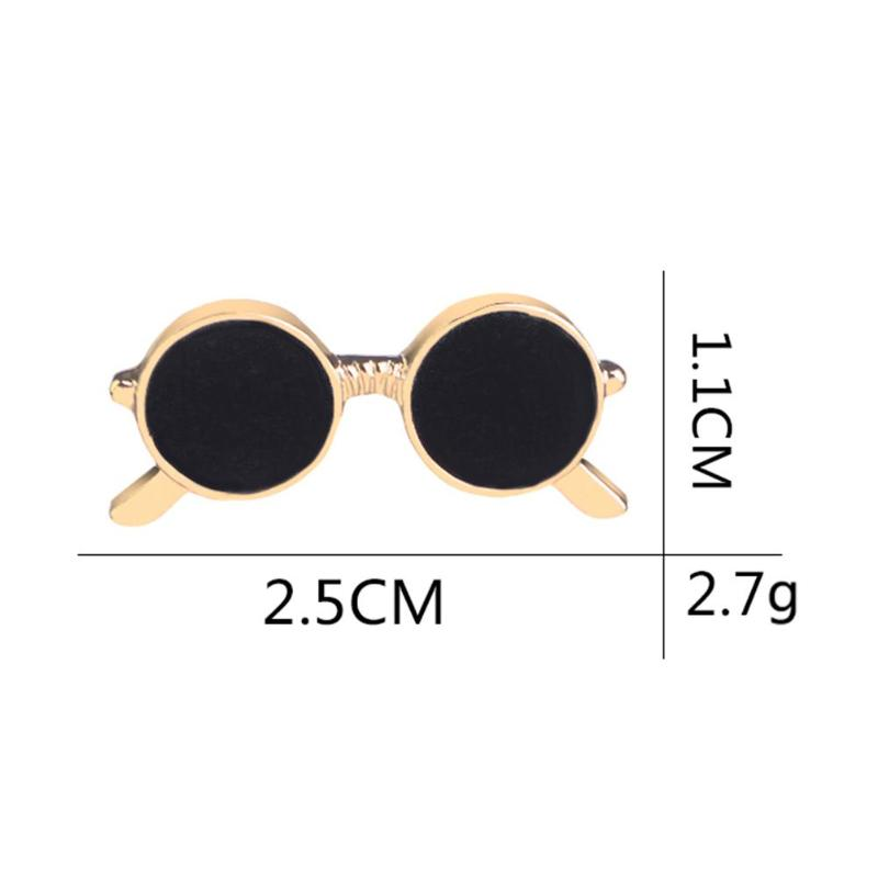 Mini sunglasses brooch unisex fashion popular party suit shirt decoration alloy pin cartoon drop oil gold and silver glasses pin 5