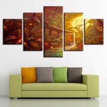 Modern Printing Posters Modular Canvas Pictures 5 Pieces Moon Fireflies Tree Night Scene Paintings Decoration Wall Art Framework