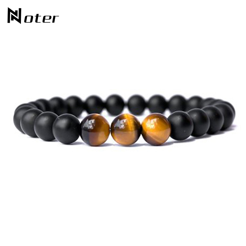Noter Minimalist Natural Stone Beads Buddha Bracelet Charms Tiger Eyes Handmade Braclet For Mens Women Yoga Jewelry Homme