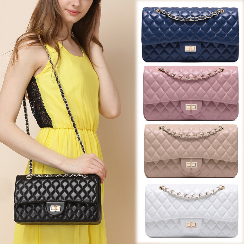 CHARMIYI Genuine Leather Women Handbag Candy Color Lattice Shoulder Bag Crossbody for Girls Messenger Bags Chain