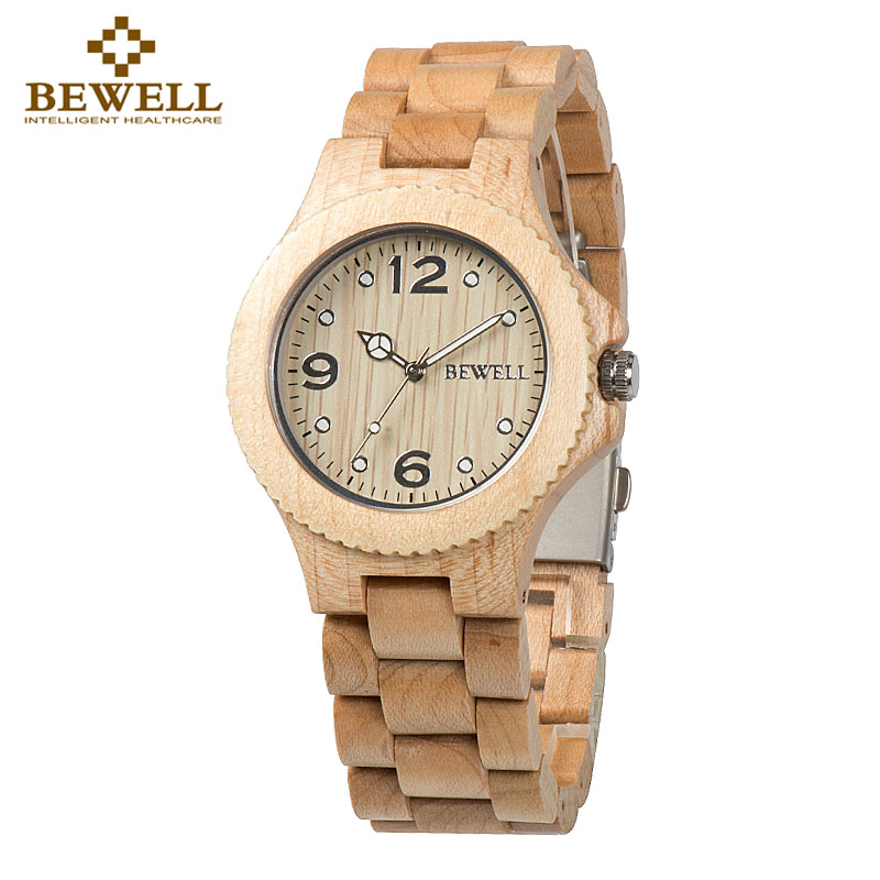 BEWELL Couples Watches Gifts Wooden Quartz Women's Luxury Fashion Handmade 038A Top-Brand
