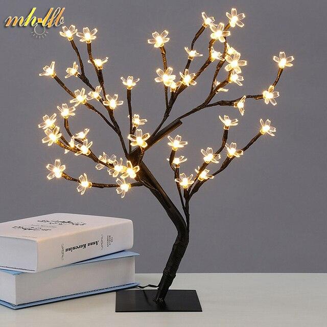 LED Cherry Blossom Tree Luz Luzes Da Noite Candeeiro de Mesa de Cristal de Casamento de Fadas Natal Decoração Quarto Interior Iluminação Luminarias