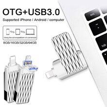 Usb флэш-накопитель металла OTG флешки 16 ГБ для iPhone/iPad/Android-смартфон USB 3.0 Pen Drive 64 ГБ высокое Скорость USB Stick Micro