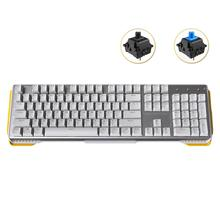 Mechanical Keyboard 104keys USB Wired Gaming Fingerboard with Gateron Black Blue Switch for PC Gamer Laptop, No Backlit