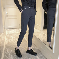 New England Leisure Buttons Decorate Ankle Length Men Suit Pants 2018 Summer Western style Trend Male Trouser Plus Size 28 36