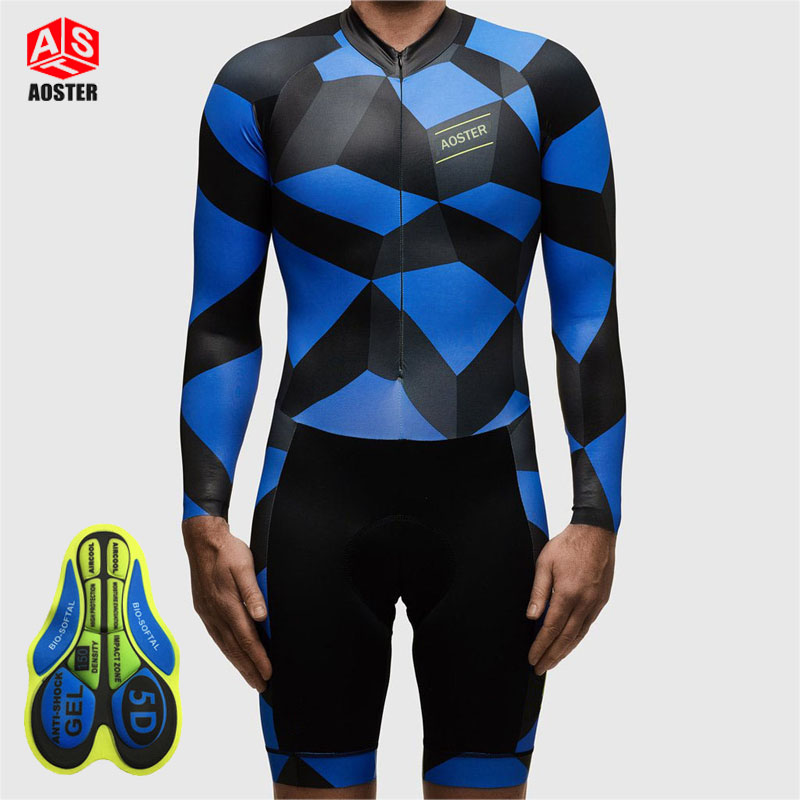 AOSTER Pro Cycling Jersey Quick Dry Breathable Long Sleeve MTB Bike Clothes Bicycle Jersey Cycling Skinsuit Coveralls w/ Pockets