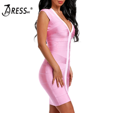 INDRESSME Sexy Deep V Zipper Women Bandage Dress Fashion Bodycon Short Sleeve Summer Women Dress Vestidos 2018