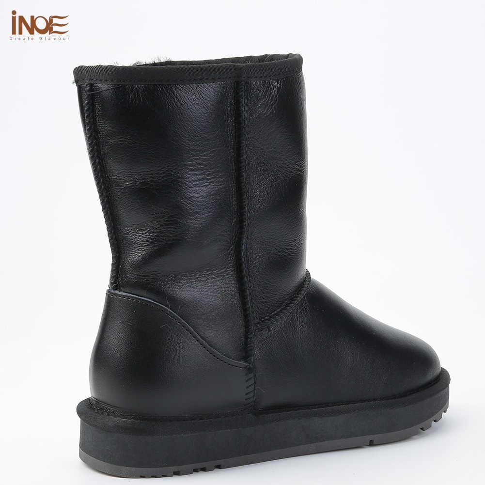 INOE klasik koyun derisi deri yün kürk astarlı kadın orta buzağı kışlık botlar kadın temel kar botları ayakkabı su geçirmez siyah gri