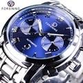 Мужские часы Forsining  водонепроницаемые автоматические часы из нержавеющей стали с календарем и синим морским дизайном