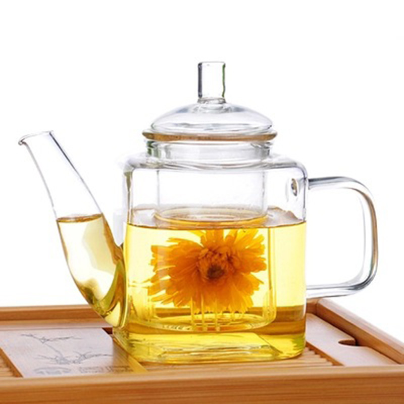 Heat-Resistant Glass Square Teapot Handmade Glass Teapot with Tank Filter Teapot hua cha hu Tea Can Be Customized