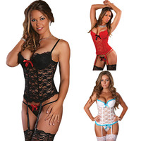 Sexy Babydoll Lace See Through Erotic Costumes For Women Sex Underwear Hot Sexy Erotic Lingerie Lace