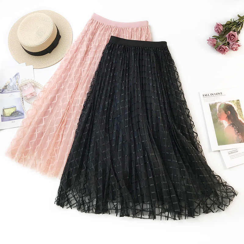 2019 New pleated skirt Women Tulle Skirt Sweet Pink Plaid Skirt female Women's High Waist A-line mesh Elastic Skirt Lady Black