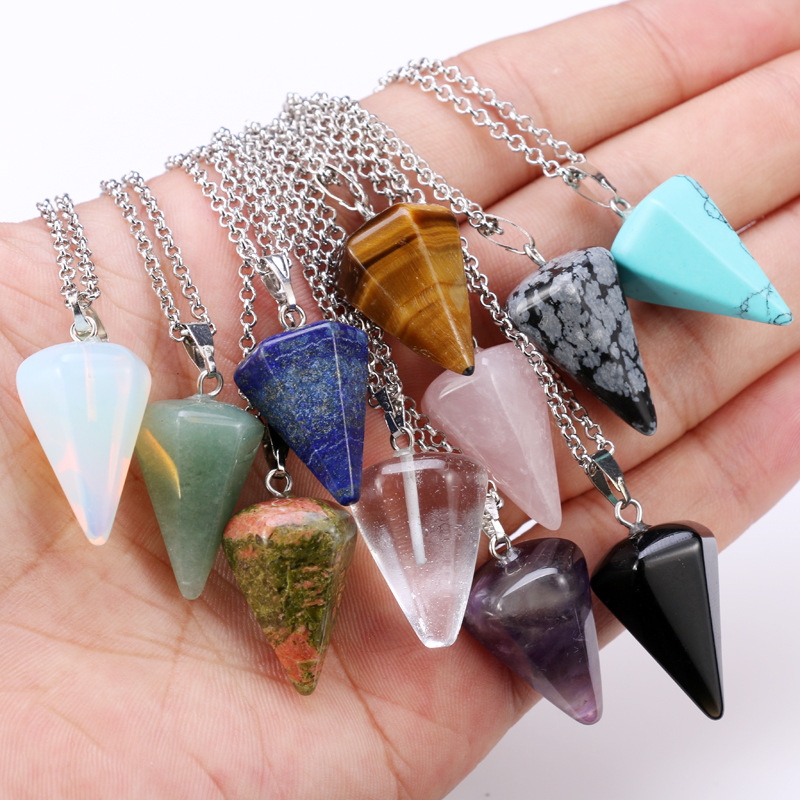 Natural Quartz Crystal Energy Healing Point Reiki Chakra Cut Gemstones Pendant Necklace With Metal Chain Crystal Stone Decor