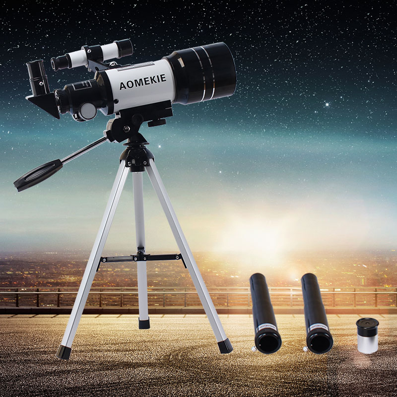 AOMEKIE f30070m Beginner Astronomical Telescope with Tripod Finderscope Terrestrial Space Monocular Telescopio Moon Watching aomekie f30070m beginner astronomical telescope with tripod finderscope terrestrial space monocular telescope moon watching gift