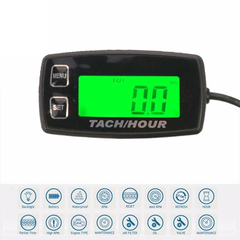 Nouveau tachymètre numérique Tach heure rétro-éclairé étanche 2/4 temps moteurs affichage inductif pour tachymètre accessoires de voiture