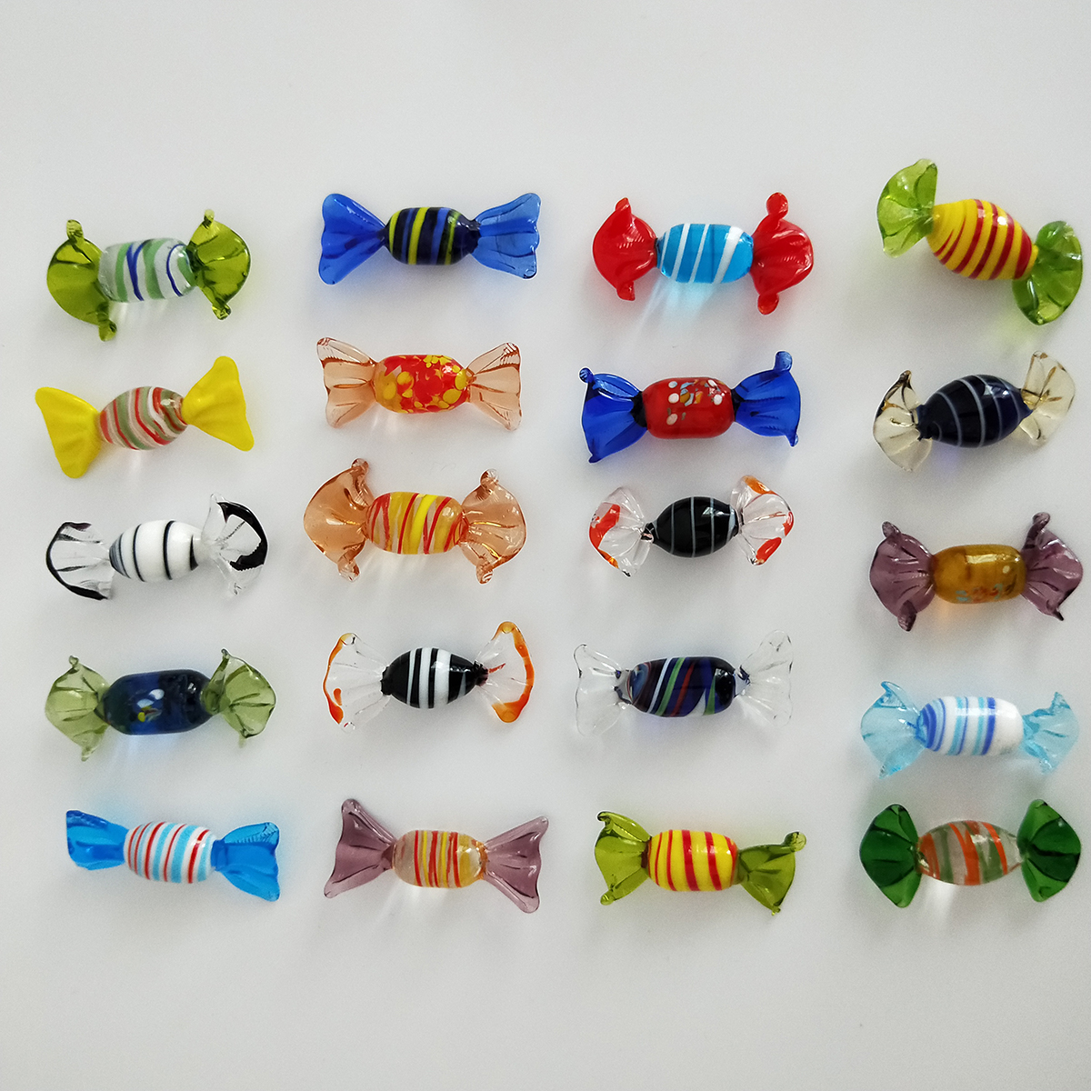 Vintage Murano Glass Sweets Candy 12Pcs/Set Figurines Crafts Random Colors Christmas Ornament Kids Gifts Party Decorations
