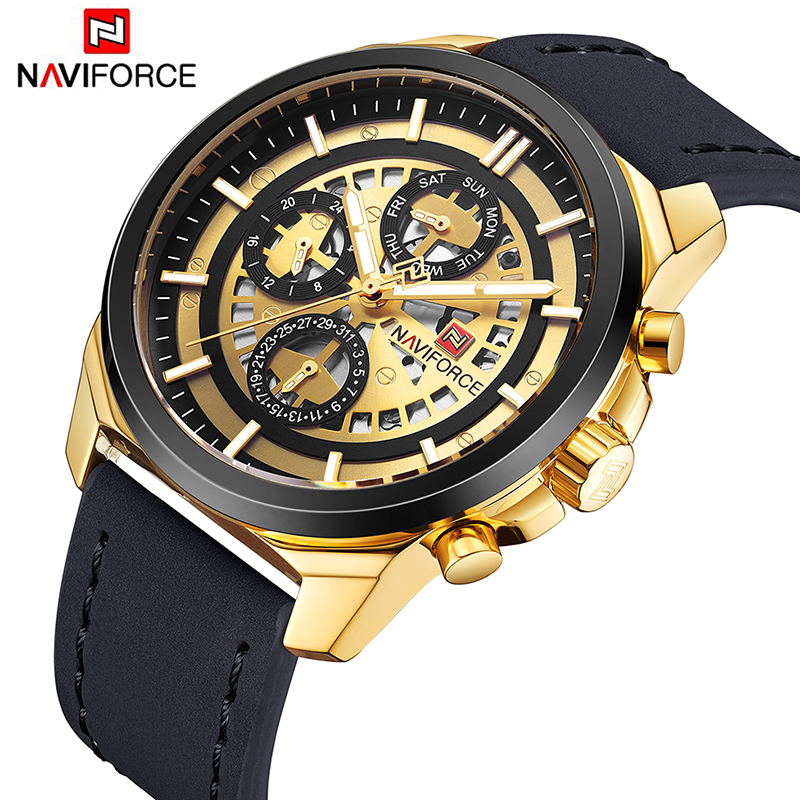 2018 Luxury Brand NAVIFORCE Men Sport Watches Mens Quartz Clock Gold Army Military Leather Wrist Watch Date relogio masculino