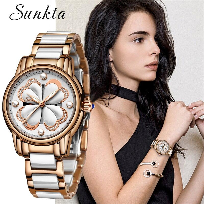 2019 nova sunkta marca superior de luxo à prova dwaterproof água relógios femininos moda simples cerâmica relógio quartzo feminino vestido relógio relogio feminino