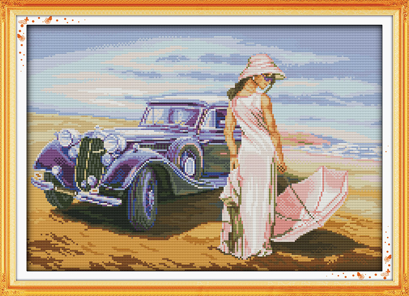 Car model on the beach Printed Canvas DMC Counted Chinese Cross Stitch Kits printed Cross stitch set Embroidery Needlework in Package from Home Garden
