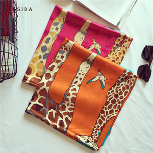 Image 5 - LESIDA Women Twill Satin Silk Scarves Giraffe Bird Print Shawl Lady Large Square Neck Scarves Female Sjaal Hijab 130*130CM 3146