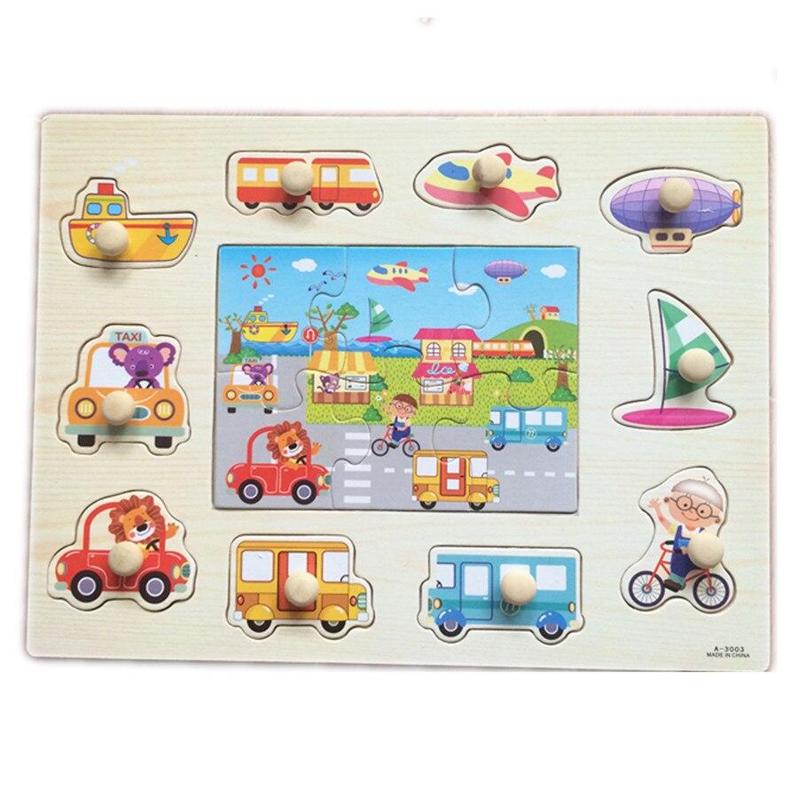 Bebé juguetes Montessori 2 en 1 Puzzle de agarre de la mano Set de juguetes educ
