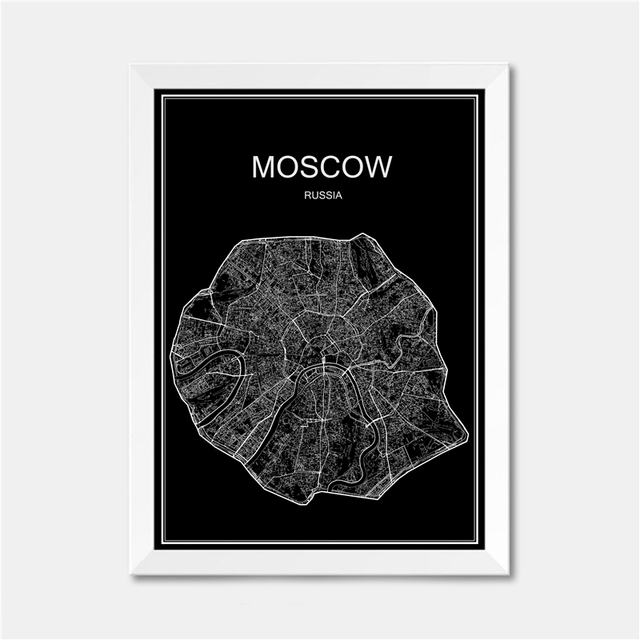 Moscow Russia City World Map Poster Abstract Vintage Paper Print