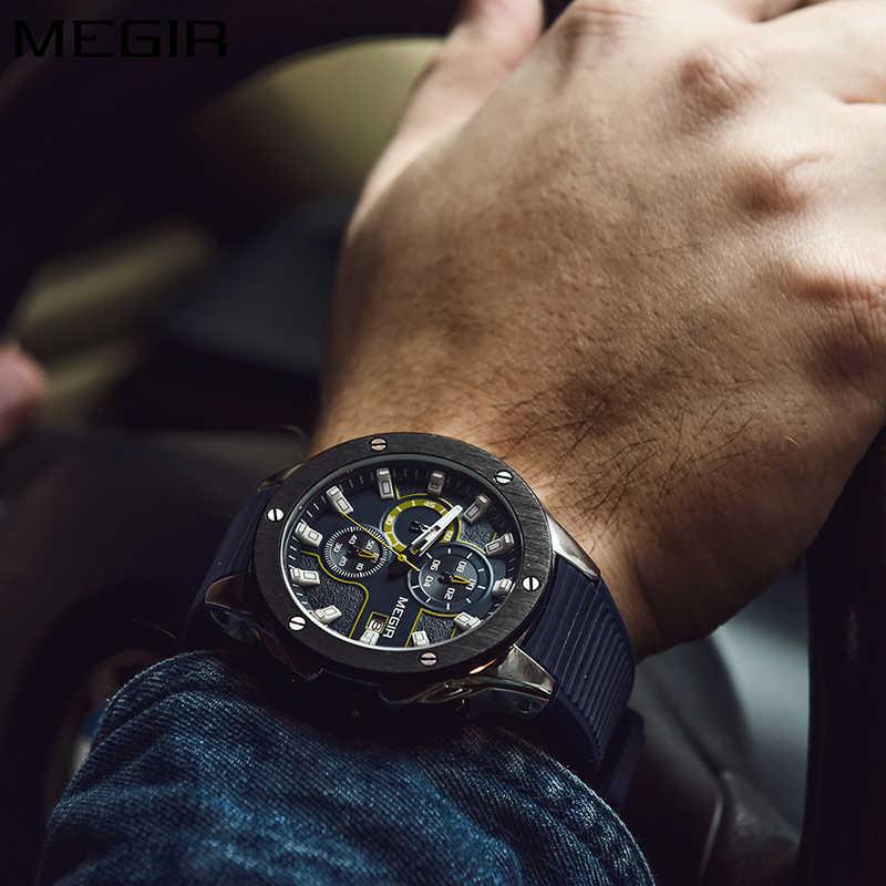 นาฬิกาผู้ชาย 2019 นาฬิกาสุดหรูแบรนด์ MEGIR ซิลิโคนนาฬิกา Man Blue Chronograph นาฬิกาข้อมือแฟชั่นกีฬานาฬิกาข้อมือผู้ชาย 2018